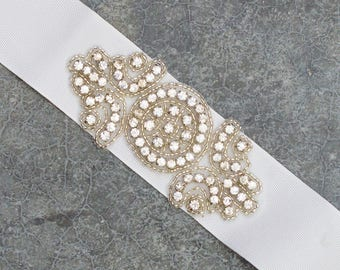 White Wedding Ribbon Sash Belt Grosgrain Rhinestone Embellishment Crystal Bling Handmade Bridal Bride Dress 218