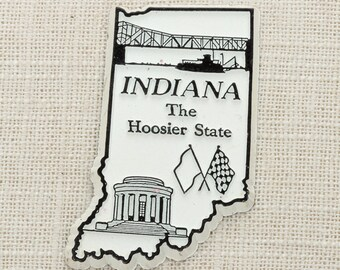 Indiana Vintage Silhouette Magnet | The Hoosier State Travel Tourism Summer Vacation Memento Indianapolis | Indy USA America Refrigerator 5S