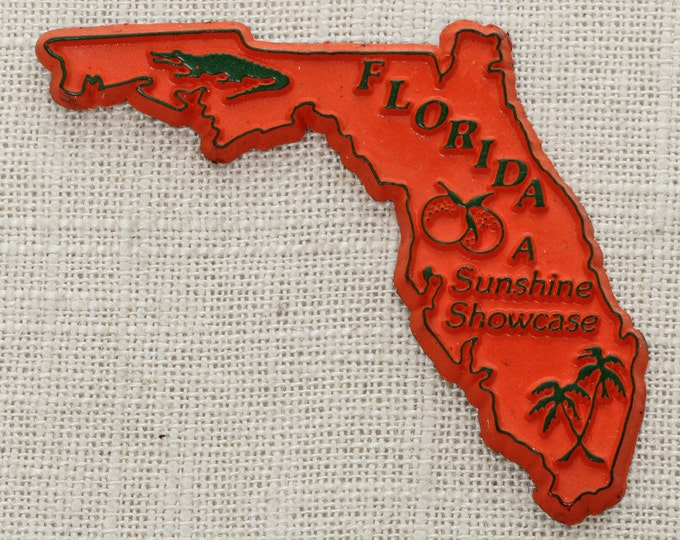 "Florida Vintage State Magnet | ""A Sunshine Showcase"" Travel Souvenir Tourism Summer Vacation Memento 