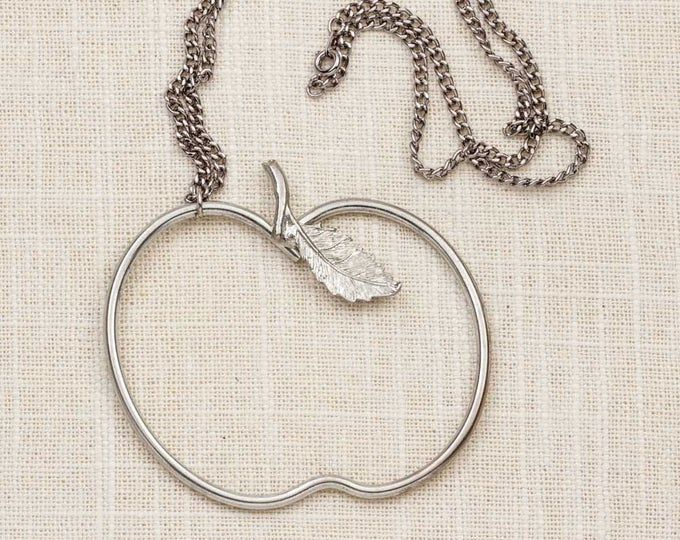 Large Apple Silhouette Necklace Vintage Silver Long Chain Statement Teacher Costume Jewelry 7L