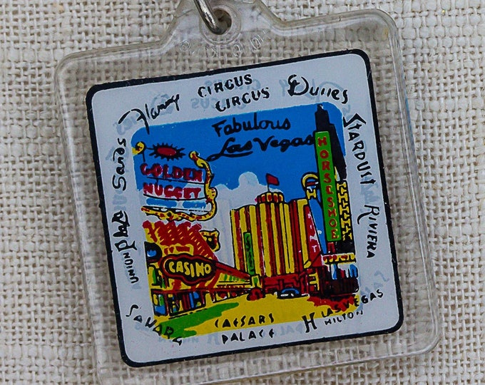 Vintage Fabulous Las Vegas Keychain Hotels Caesars Palace Golden Nugget Circus Circus Dunes Riviera Sahara Palms Key FOB Key Chain 7FF