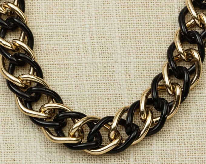 """Black and Gold Links Necklace   Lobster Clasp   23"""" inch Single Strand Basic Jewelry Layering   5E"""