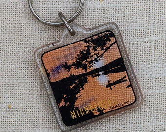 Vintage Minnesota Keychain Canoe Orange Black Sunset Lake Key FOB Key Chain 7PP