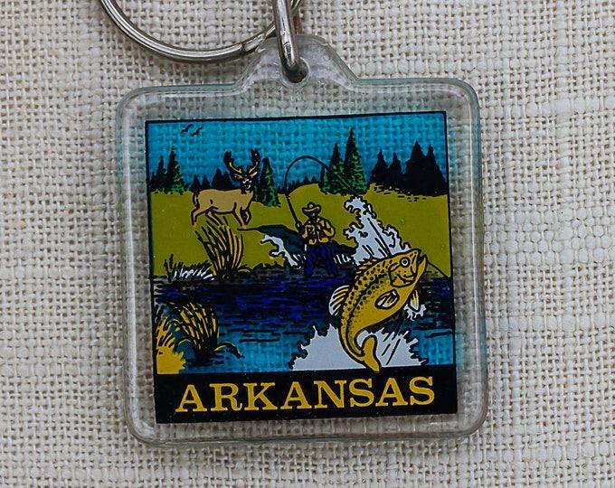 Vintage Arkansas Fishing Keychain Fly Fish Key FOB Key Chain 7PP
