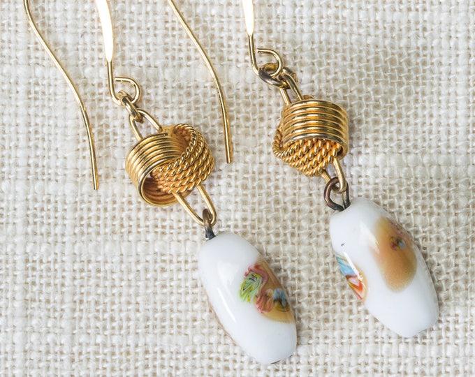 Vintage Ceramic Earrings French Hook Dangle Drop White Brown Gold Tone Pierced Vtg 7LL