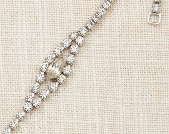 Vintage Bracelet Silver Rhinestone Chain Sterling Marquese Delicate Costume Jewelry 7J