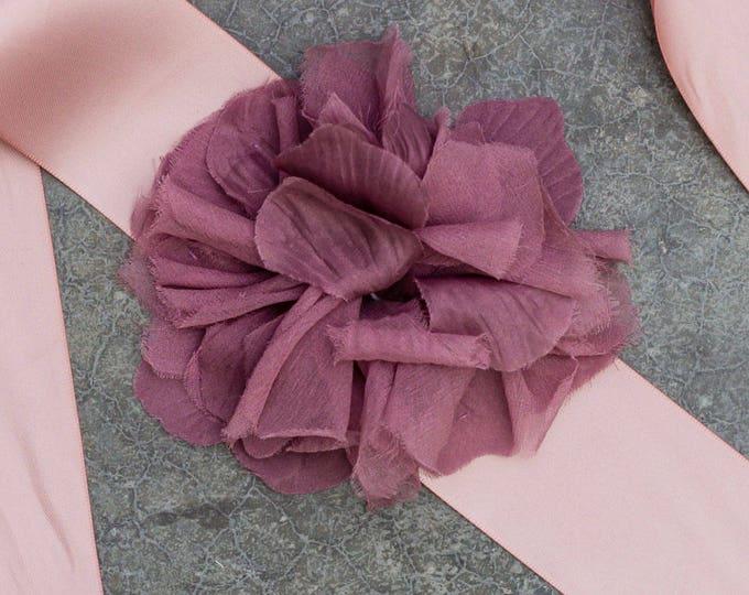 Purple Floral Satin Ribbon Belt Silk Chiffon Flower Unique Lavender Dusty Plum Sash Monochromatic 343