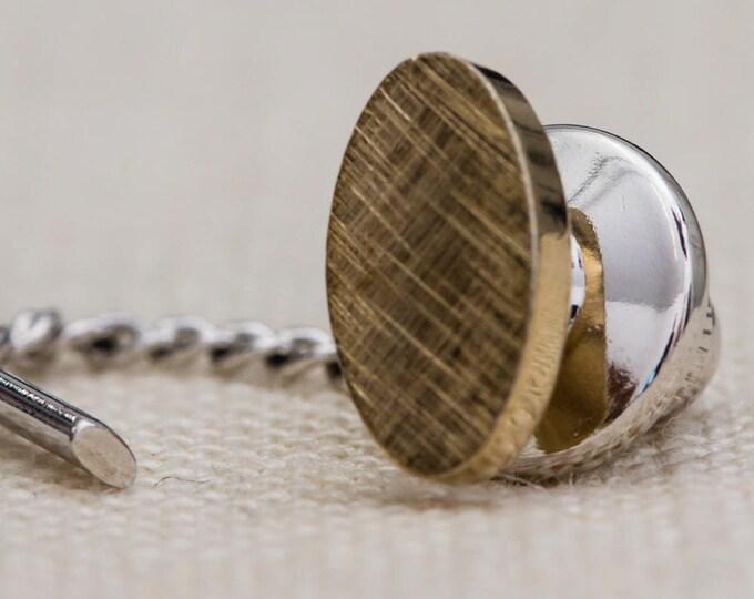 Gold Tie Tack Oval Lapel Pin Tie Clip Vintage Men's Accessory 7WW