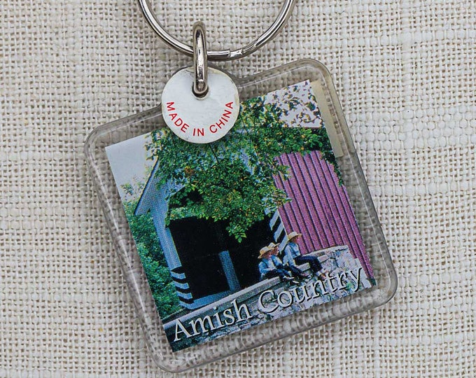 Vintage Amish Country Keychain Covered Bridge Key FOB Key Chain 7PP