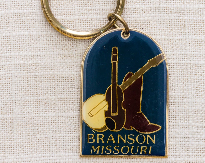 Branson Missouri Vintage Keychain Cowboy Boot Violin Banjo Fiddle Music Key FOB Brass Key Chain 7KC