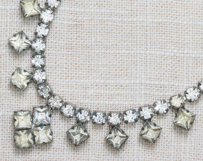 Rhinestone Vintage Necklace Choker Square Crystal & Silver Costume Jewelry 7AA 5