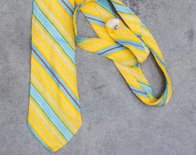 Yellow Stripe Necktie French Vintage Tie Pastel Tie Retro Menswear Mens Hipster Ties Neckwear 7ZZ