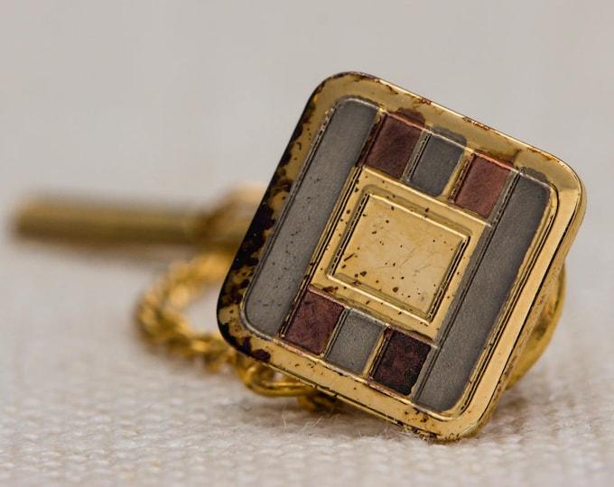 Gold Tie Tack Square with Inlay Lapel Pin Tie Clip Vintage Men's Accessory 7WW