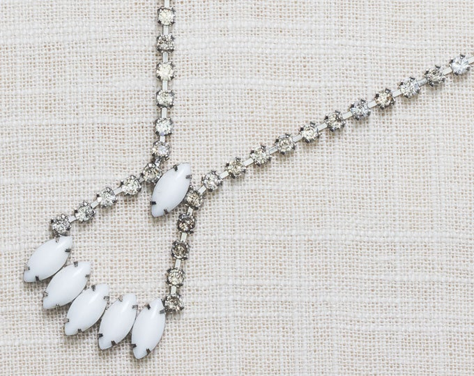 White and Clear Rhinestone Vintage Necklace Marquee Crystal & Silver Costume Jewelry 7AA 11