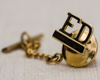 Ed Tie Tack Gold Education Lapel Pin Tie Clip Vintage Men's Accessory 7WW