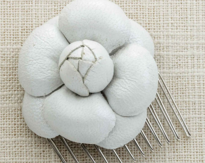 White Flower Suede Leather Hair Clip Embellished Comb Handmade in USA Hair Pins 16V