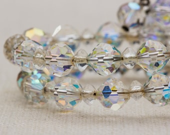 Crystal AB Iridescent Beaded Two Row Vintage Bracelet Bangle Costume Jewelry Cuff 7AR