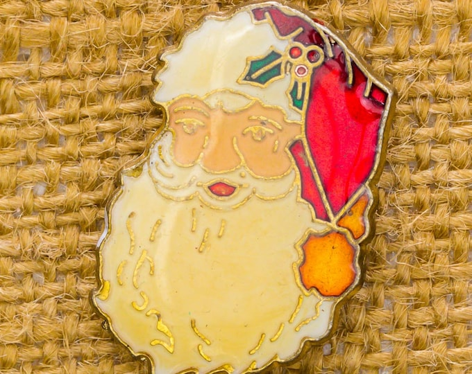 Vintage Santa Claus Pin Christmas Brooch Enamel Gold Holiday Red Green Ugly Xmas Sweater Add On 14H