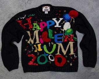 Y2K Happy Millennium Sweater | Oversized Sequin New Years Party Jumper NYE Outfit Ugly New Years Sweater 2000 Multi Color Sparkly 7CI