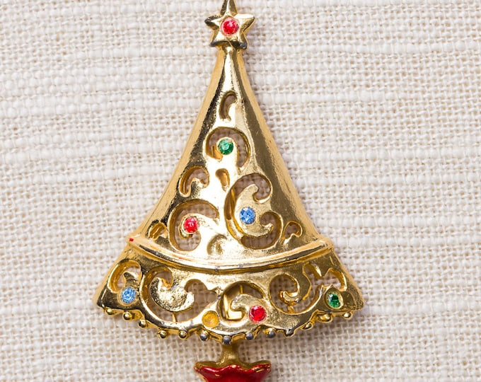 Gold Christmas Tree Brooch Vintage Holidays Xmas Red Enamel Pot Green Blue Rhinestones 14H