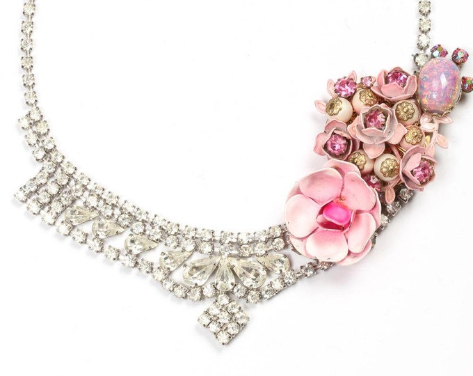 Statement Necklace Handmade Rhinestone Necklace Encrusted w/ Pink Floral Iridescent Pastel Accents Soldered High Quality - 879972