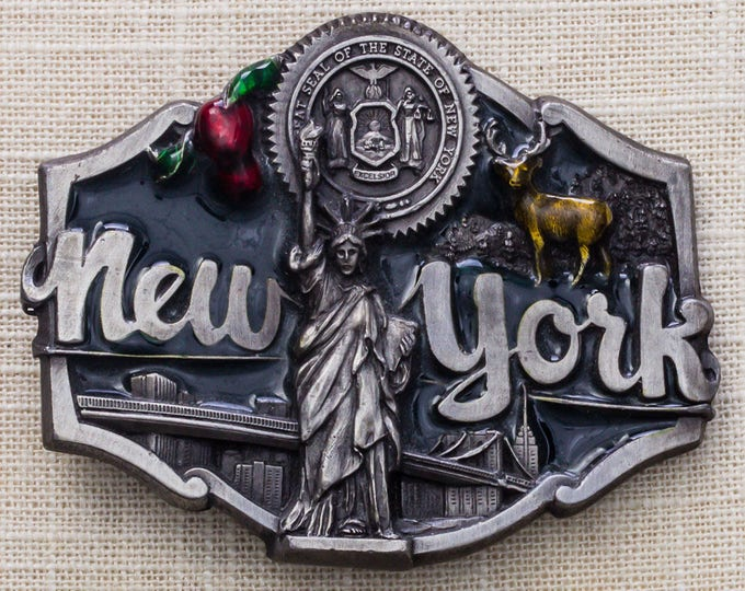New York Enamel Belt Buckle Statue of Liberty 1987 Brooklyn Bridge Empire State Building Big Apple Pewter Tone Vintage Belt Buckle 7MM
