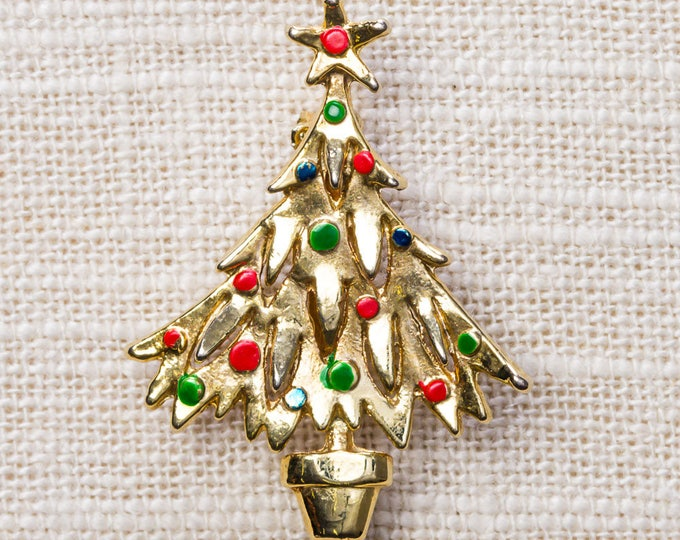 Shiny Gold Christmas Tree Brooch Red Green Enamel Ornaments Xmas Holiday Star Pin 14H