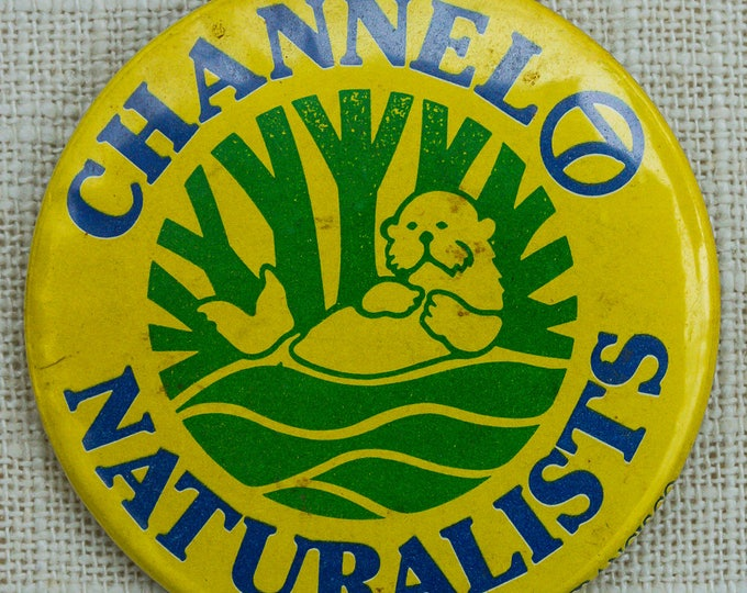 Channel Naturalists Button Vintage Otter Yellow Blue Green San Francisco Pin-Back Button Vtg Pin 7QQ