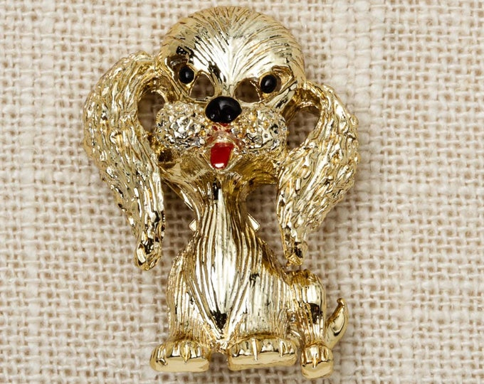 Gerry's Gold Dog Brooch Vintage Animal Broach Vtg Pin 7P