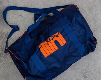 Vintage Illinois Tote Bag Fighting Illini Bag Illinois Vintage Duffel Bag Blue & Orange Gym Tote | Basketball Football Gym Bag Sports 7VV