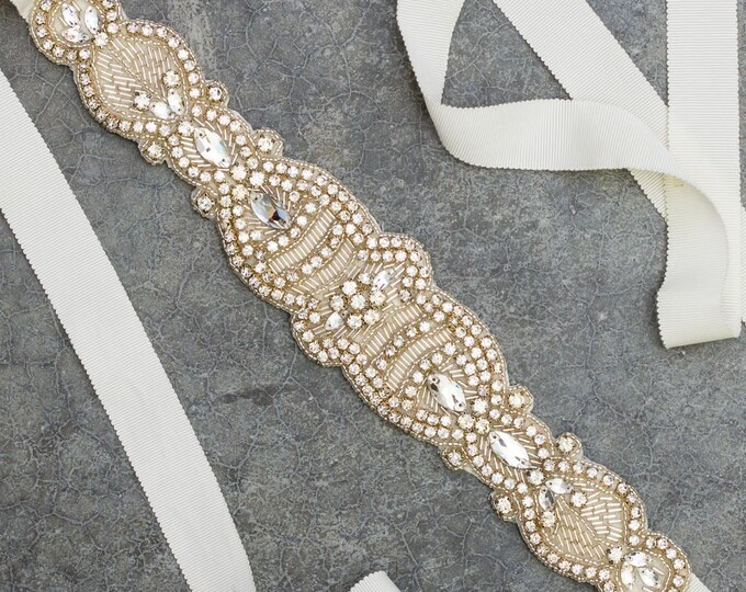 Rhinestone Beaded Ivory Grosgrain Ribbon Belt Embellished Handcrafted Bride Bling Wedding Bridal Sash 379