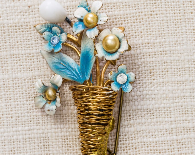Gold and Blue Flower Brooch Vintage Spiral Wire Basket Pearl White Enamel Broach Vtg Pin 7YY