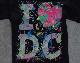1990s Vintage Neon Splatter Paint T Shirt Washington D.C. Size XS | I Heart DC | Extra Small Neon Rainbow 7W