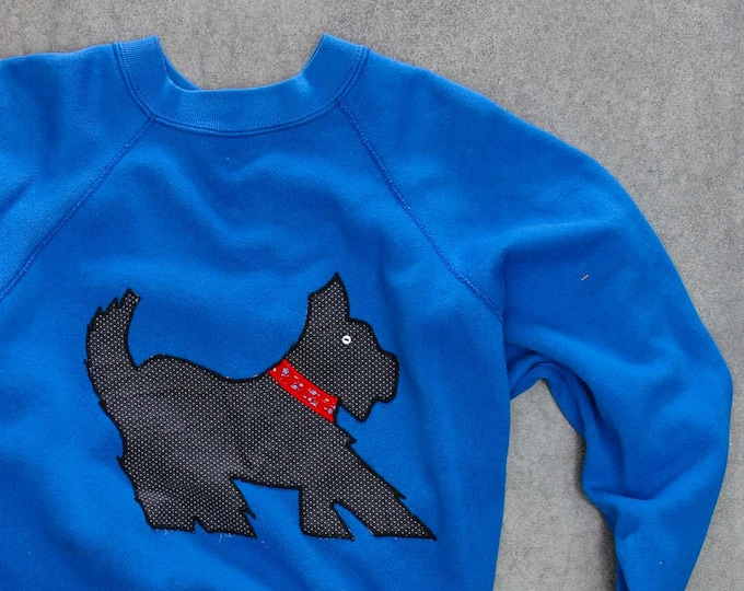 Blue Scottie Dog Sweatshirt Vintage Scottish Terrier Fleece Oversized XXL