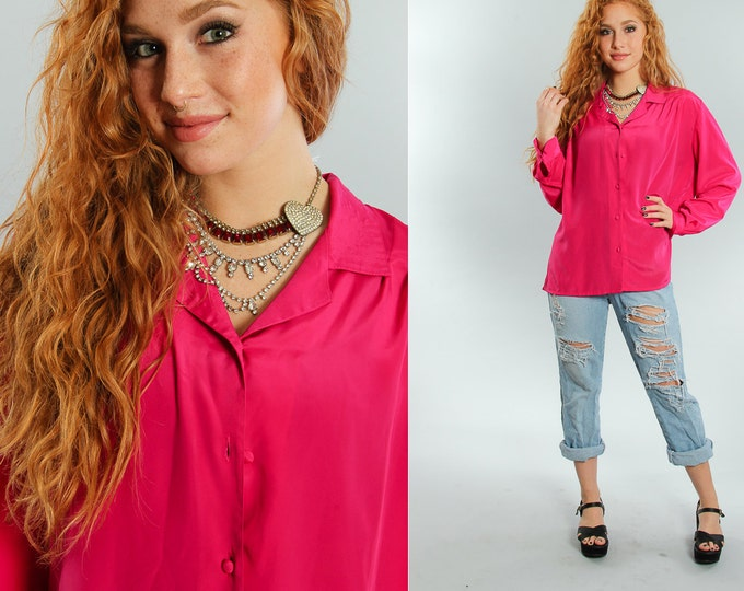 Hot Pink Oversized Blouse Vintage Drapey Top | Fuchsia Size L Large 18 VTG Pink Blouse | 5CC