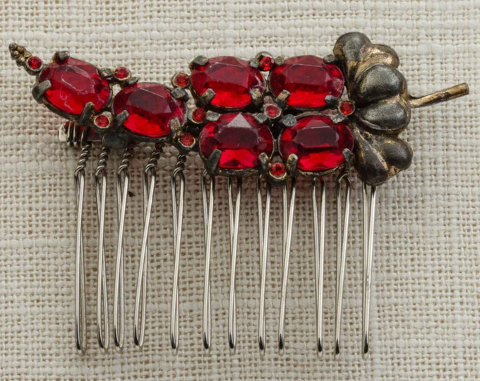 Red Rhinestone Grapes Hair Clip Embellished Comb Handmade in USA Hair Pins 16V