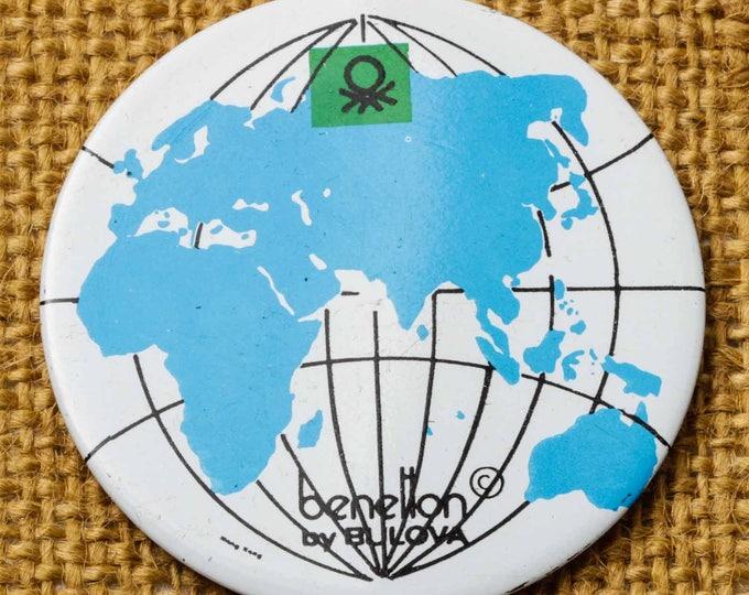 Atlas World Globe Button Vintage Benetton by Bulova Pin-Back Button Vtg Pin 7S