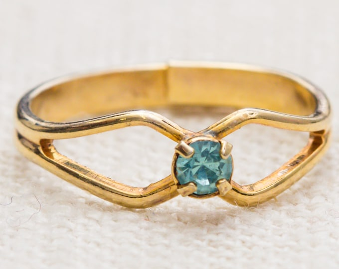 Gold and Aqua Rhinestone Vintage Ring Blue Small Delicate Adjustable 7RI