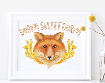 Dorm Sweet Dorm Print Fox Wall Hanging Golden Yellow Whimsical Animal Flower College Dorm Room Poster Wall Print 10 Inches x 8 Inches