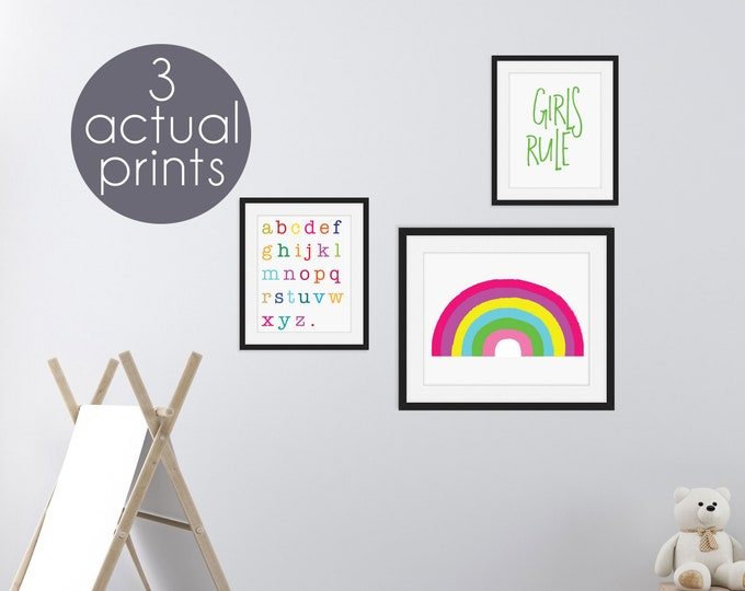 Set of 3 Wall Prints for Girl's Room Kid's Decor Rainbow Alphabet Letters Girls Rule Girl Power Posters Actual Prints 8x10 and 14x11
