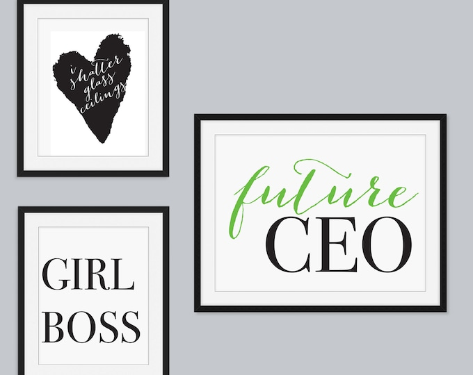 Set of 3 Wall Prints for Girl's Room or Nursery Feminist Decor Empowering Females Daughters Girl Power Posters Actual Prints 8x10 and 14x11