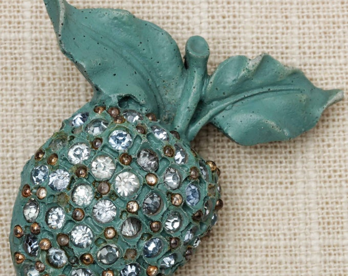Turquoise Apple Brooch Vintage Rhinestones Large Novelty Broach Vtg Pin 7T