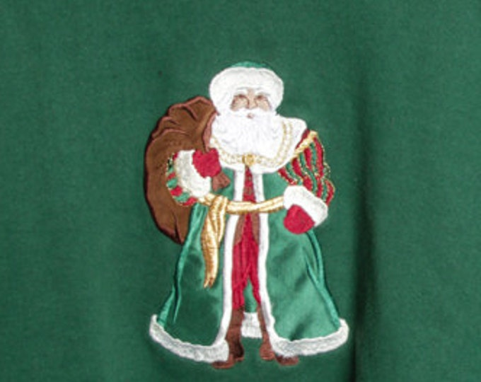 Santa Claus Vintage Ugly Christmas Sweatshirt L Large Dark Green St. Nick Ugly Xmas Shirt Holiday 6CB