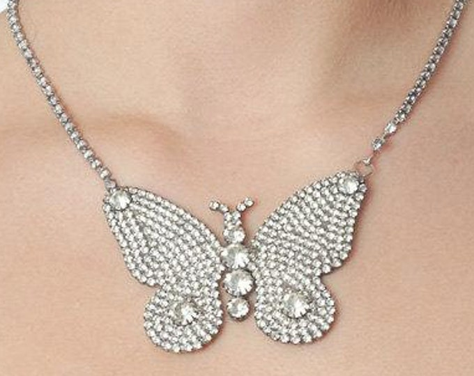 Butterfly Necklace Silver Rhinestone 1950s Crystal Butterfly Bridal Bling Statement Back Necklace 1000577