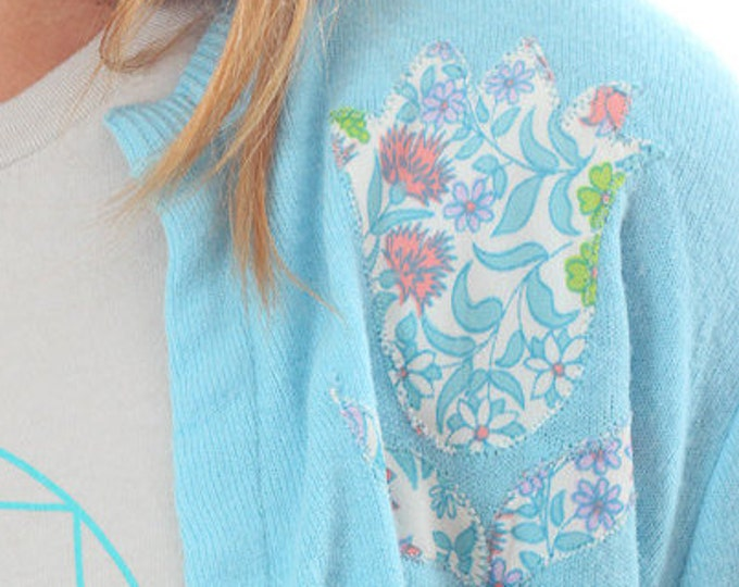 Medium Large 1960s Vintage Cardigan Blue Embroidered Sweater Jumper Cardie Floral Tulips 4AA