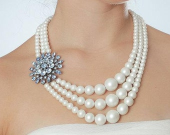 Blue & Pearl Multi-Strand Statement Necklace | Modern Graduated Ivory Pearls 1000538