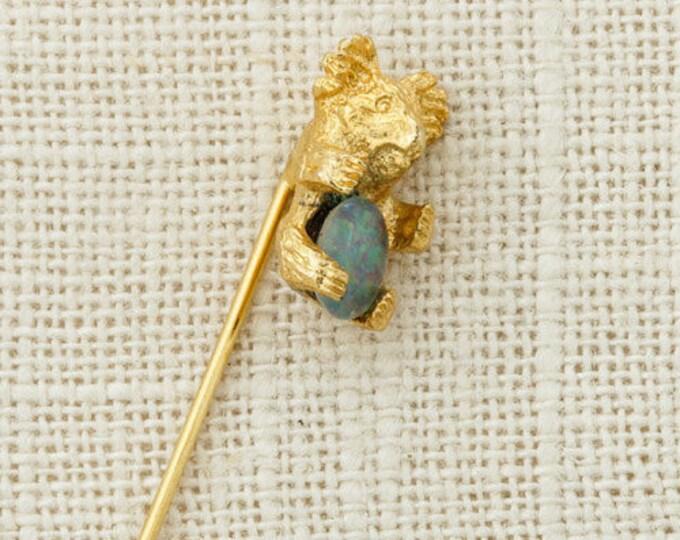 Koala Bear Stick Pin Blue Opal Cabachon Vintage Stickpin Gold 6Y