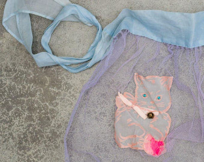 Kitty Cat Apron Vintage Sheer Purple & Blue Smock Hostess Apron 1950s Pin Up