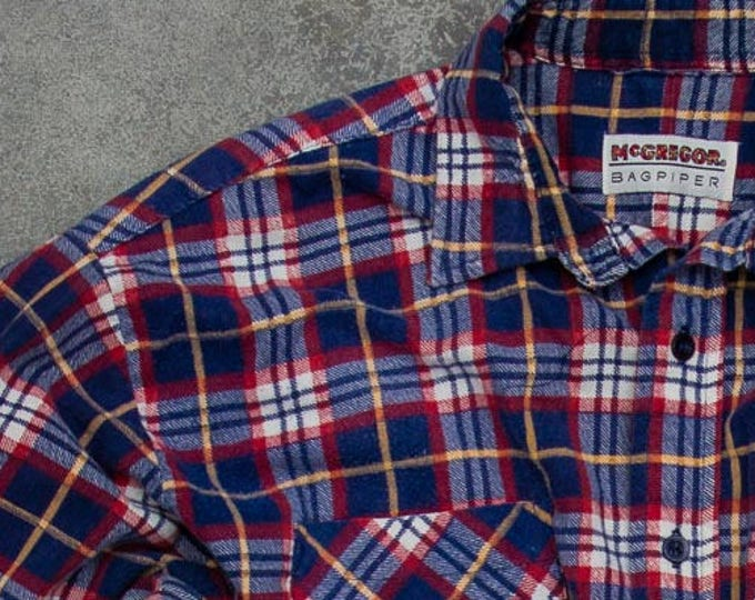 Vintage Flannel Blue Flannel Soft Grunge Size XL McGregor Bagpiper Brand Mens Womens Unisex Flannel Fall Flannel 90s Flannel Work Shirt 7V