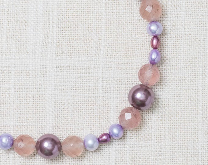 Purple Pearl + Glass Necklace | Lavender Beaded Necklace | Hand-Strung Necklace 7HH